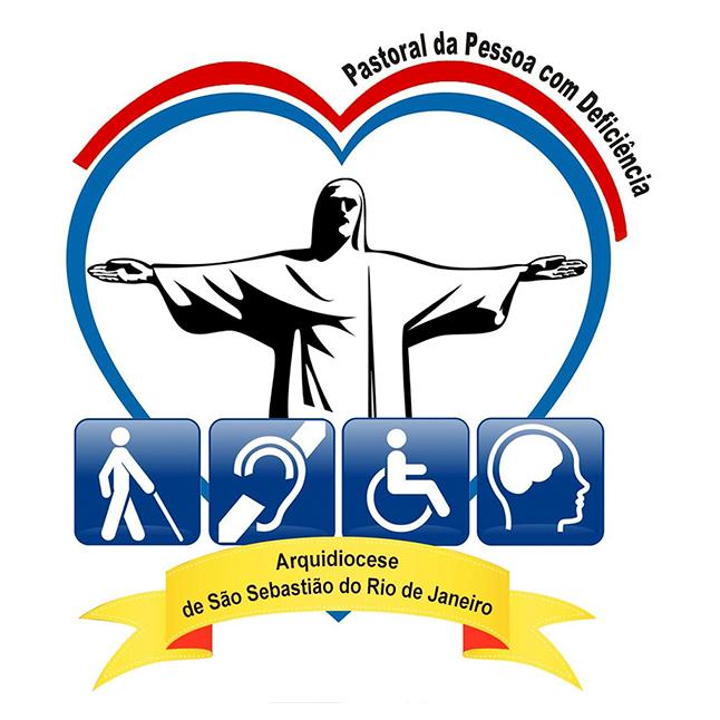 Desenho do Cristo Redentor, de braços abertos com os 4 símbolos das Deficiências: surdez, visual, física e intelectual. ao redor da imagem do Redentor, forma -se um coração com a cor azul, cor da deficiência.