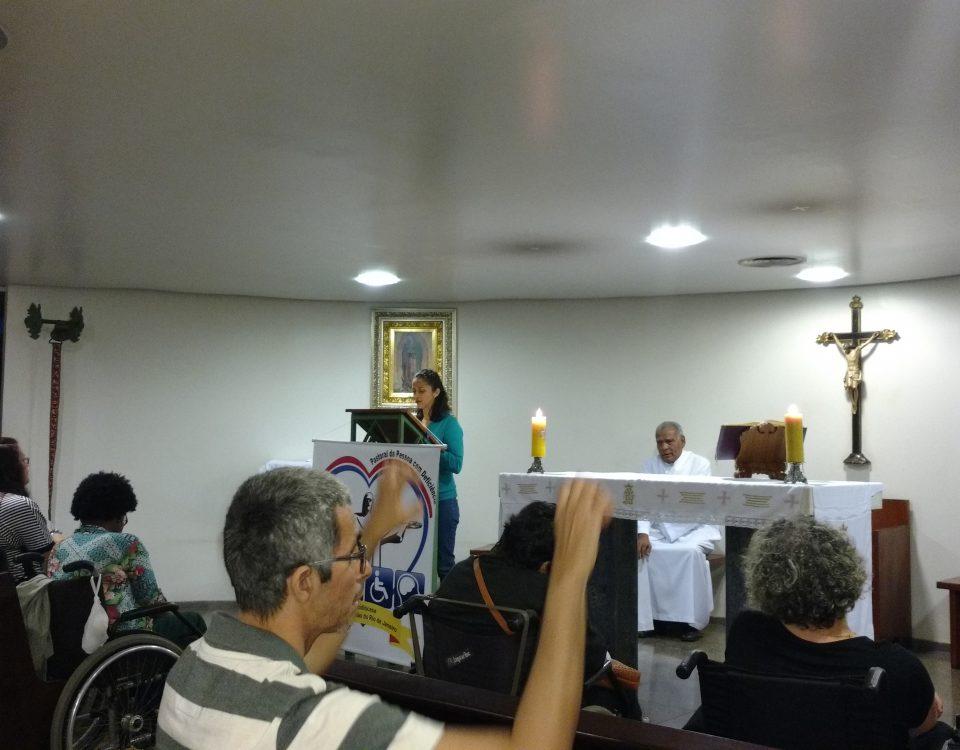 Capela da Mitra, no Bairro da Glória. Celebração pelos 6 anos de Fundação da Pasped.. Presenca do Diácono BA e dos membros da Pastoral do Cego, do Surdo e da FCD.