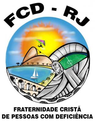 Logotipo do Movimento Ecumênico da FCD do Rio. Foto com os ícones da Cidade Maravilha: Pâo de Açucar, Arcos da Lapa, Cristo Redentos, Baía da Guanabara, Maracanã e um parapente, ao fundo um grande sol bem amarelo.