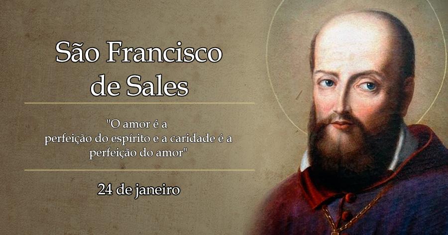 Imagem de São Francisco de Sales, bispo e grande escritor. Usa barba. ele é o Patrono da Pastoral do Surdo do Brasil.