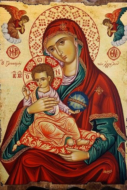 Pintura grega - ícone de Nossa Senhora Mãe de Deus. Contemple a beleza das cores e o olhar de ternura de Nossa Mãe! Cores diversas. Jesus sentado no colo de Maria sob um travesseiro de cor vermelha. Jesus segura o globo terrestre na sua mão.