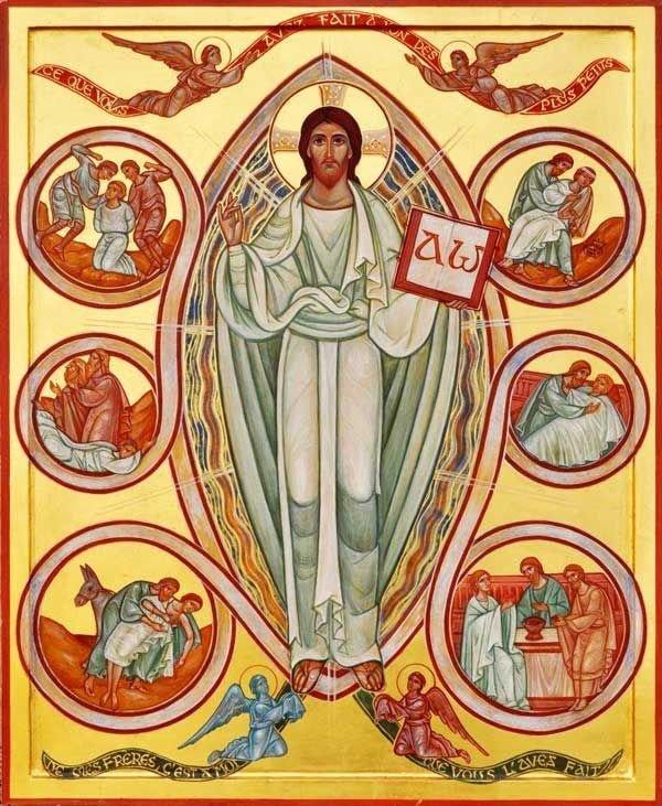 Jesus está em pé, pintura oriental. Com uma túnica branca e dois anjos aos seus pés.