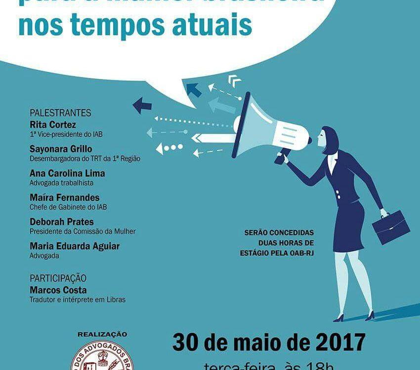 Cartaz divulgação para o evento no dia 30 de maio, na IAB (Instituto de Advogados Brasileiro) Av. Marechal Câmara, 210 - 5º andar - Centro