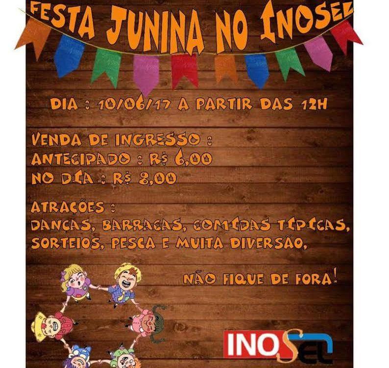 Cartaz divulgação da tradicional festa Junina do INOSEL, dirigida pelas Irmãs Calvarianas.