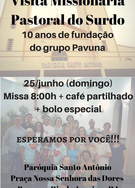 Convite cartaz das comemorações dos 10 anos de fundação da comunidade de surdos da Pavuna