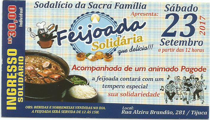 Cartaz com as informações: dia 23 de setembro a partir das 12 no Sodalício da Sacra Família. Valor 30,00. Prato Feijoada.