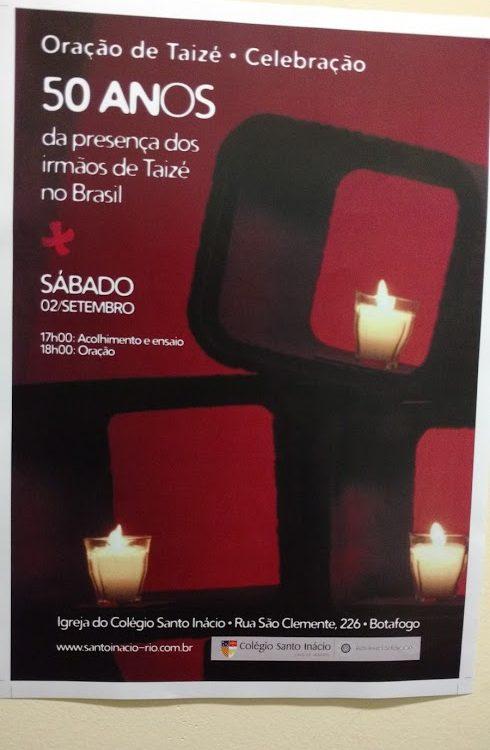 Cartaz convite para a Celebração pelos 50 anos da presença dos Irmãos de Taizé.