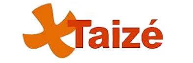Uma cruz de cor laranja com a palavra Taizé é o logotipo da Comunidade dos Irmãos.
