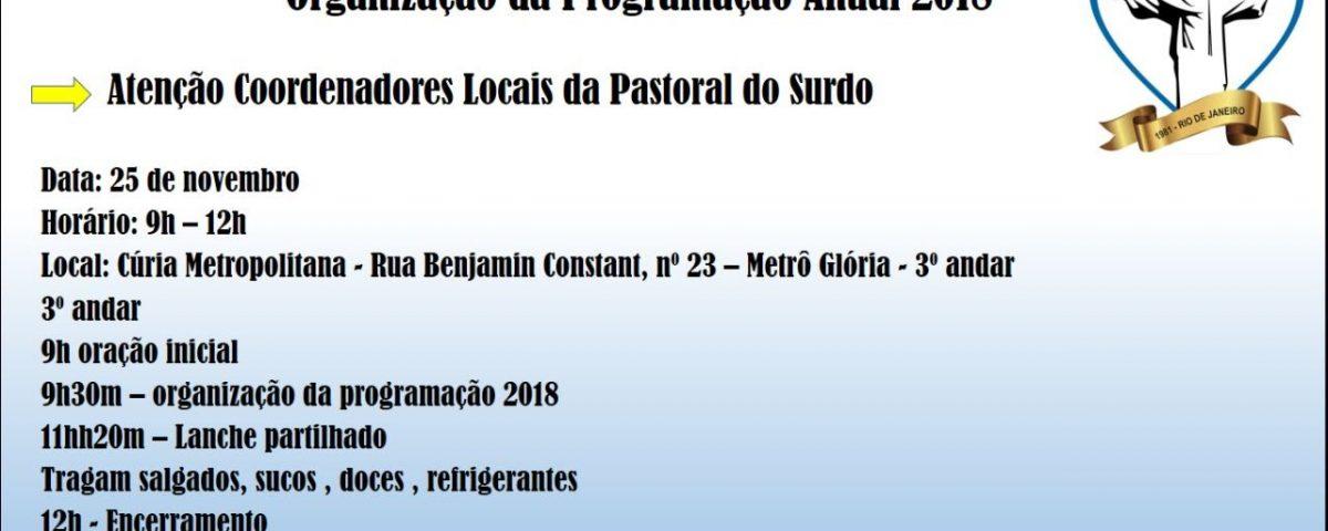 Comunicado para a Reunião Preparatória das Atividades da Pastoral do Surdo para 2018.