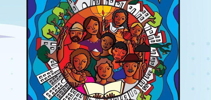 Cartaz do Ano do Laicato. Povo de Deus celebra a fé, testemunha Jesus Cristo junto de seus pastores.