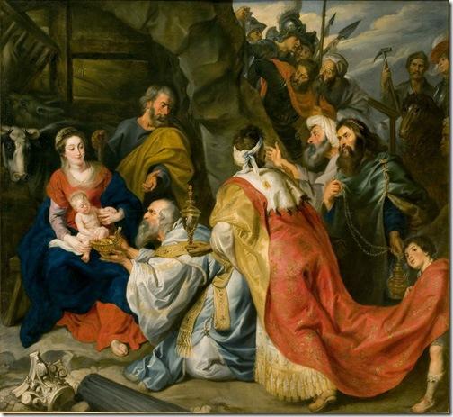 Os 3 Magos diante da pintura do Menino Jesus. Ao lado com José e Maria . Ícone é uma pintura de orgiem russa pintada pelos católicos ortodoxos.
