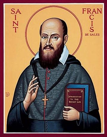Imagem (Pintura de São Francisco de Sales. Tem um livro na mão pois escreveu muito sobre Espiritualidade. Um cordão peitoral com uma cruz.