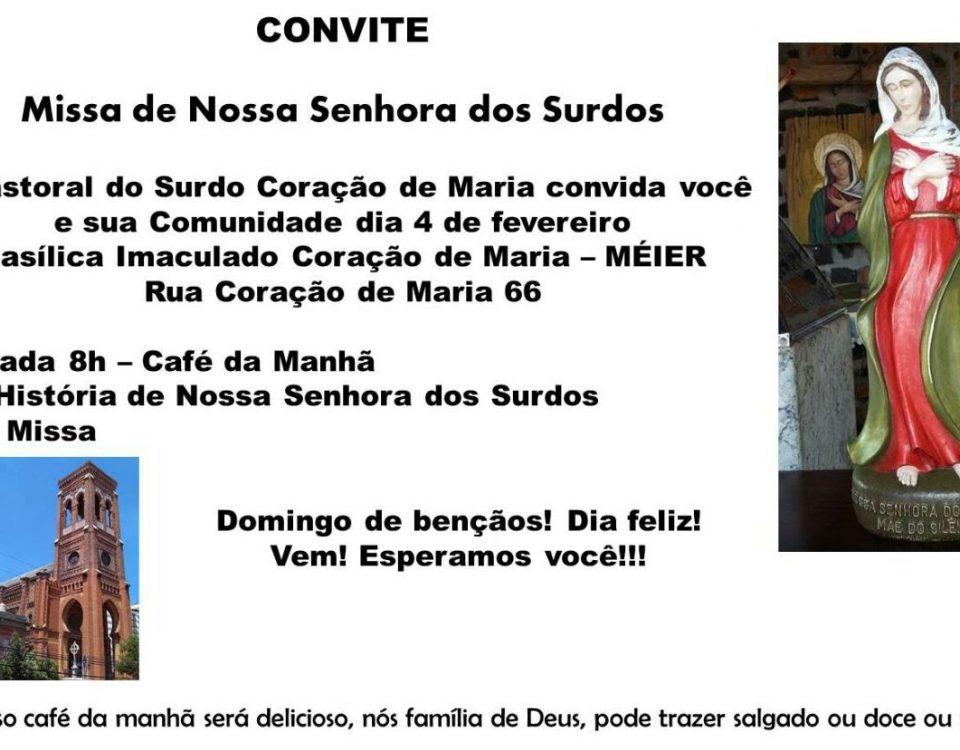 Programa da Celebração de Entronização da Imagem de Nossa Senhora dos Surdos