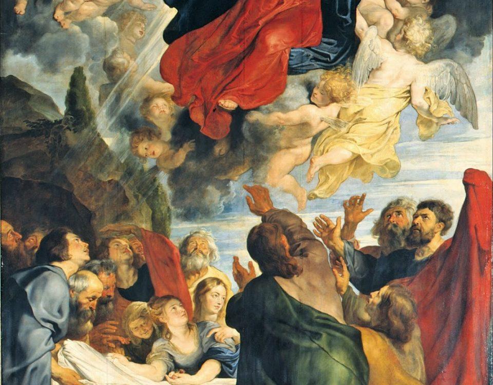 Pintura que retrata a Assunção de Maria aos céus.